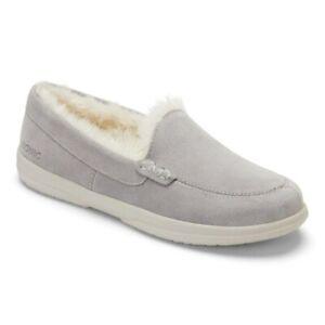 Womens Vionic Lynez Luxury Suede Shearling Slippers Light Grey