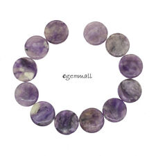 "12 Russian Charoite Flat Round Coin Beads ap. 14mm 6.5"" #86235"