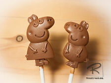 Like Peppa & George pig. Belgian chocolate lollies/lollipops x 10 parties, party