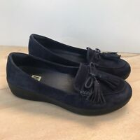 FitFlop Navy Blue Suede Tassel Bow Sneakerloafer Slip on Loafer Shoes 8, 39