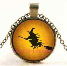Vintage Halloween Flying Witch Cabochon Glass Bronze Chain Pendant Necklace