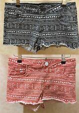 Alma valiente Impresión Azteca Tribal Denim Shorts Hot Pant Naranja/Negro 8-16 Nuevo Nuevo Con Etiquetas