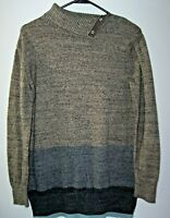 GAP Turtleneck Blue Ice Knit Sweater Women's S Colorblock Snap Button Neckline