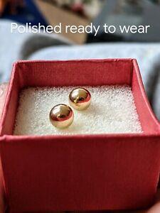 Pair 14 KT Yellow Gold, Ball Post Earrings