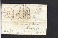 RICHMOND, VIRGINIA 1831 STAMPLESS LETTERSHEET,HENRICO CO 1782/OP.
