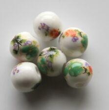 30pcs 8mm Round Porcelain/Ceramic Beads - White / Green Flowers