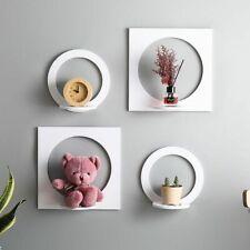 4 Pcs White Wood Wall Shelf Display Storage Rack Room Organizer Home Decoration