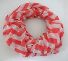 Chevron Infinity Scarf Pink White Zigzag Print Loop Cowl Lightweight Fabric