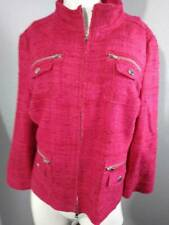 Per Se Womens Tweed Jacket Coat Hot Pink Short Cropped Zip Up 100% Silk 12