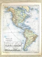 1879 Antik Politur Map Of North America Physikalisch Kanada Continent USA