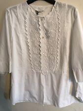 Isabel Marant Etoile White Cotton Embroidered Bib Blouse BNWT Sz14 RP £220