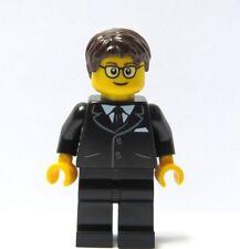 Lego el novio de color Marrón Gafas de traje negro Minifigura Pelo Boda Mejor Hombre Usher