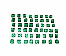 Wonderful 50 Pieces Square Real Zambia 6.63 Ct Emeralds For Sale