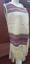 Beige Sleeveless Knitted Poncho Cape with tassels & colorful knit border