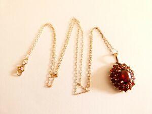 "Ladies 9ct Yellow Gold Garnet Set Cluster Pendant 19.5"" Necklace"