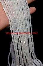 """Natural Rainbow Moonstone 3-4 mm Rondelle Faceted Loose Beads 13"""" Strand"""
