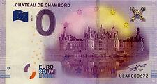 BILLET 0 EURO SOUVENIR 2016 CHÂTEAU DE CHAMBORD BANKNOTE 0 EURO SCHEIN MONEY