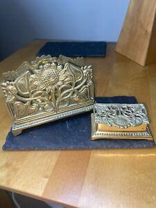 Vintage Art Nouveau Sunflower Pattern Brass Letter Rack and Stamp Box