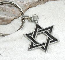 JEWISH STAR OF DAVID Judaica Pewter KEYCHAIN Key Chain Ring