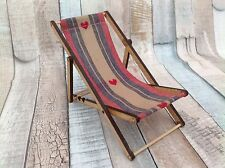 Miniature Deck Chair With Red Heart Shabby Chic Cute Seaside Theme Berry Colour