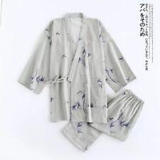 New Mens Chinese Japanese Oriental Grey with Bamboo Kimono Pyjamas menpjs36