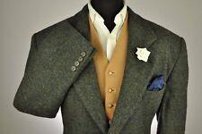 """Vtg Harris Tweed Textured Green Tailored Hacking Jacket 46"""" #277 STUNNING"""