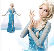 Frozen Elsa Costume Da Festa Blu adulto tutte le misure Lustrini / WIG scelta