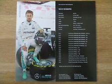 Autogrammkarte AK *NICO ROSBERG* MERCEDES F1 TEAM Formel 1 Weltmeister 2016 RAR
