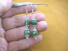 (ee405-11) 10 mm Green Jade Canada gemstone 2 bead + silver caps dangle earrings