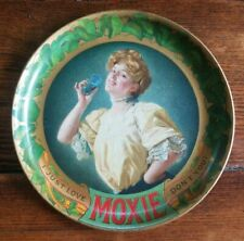 Vintage Moxie Tin Lithograph Advertising Tip Tray I Just Love Moxie Dont You?