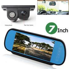"7"" LCD Car Rear View In-mirror Monitor+ 2in1 Radar Parking Sensor Backup Camera"