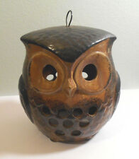 VTG Ceramic Japan Owl Cut-Out Tea-light~LED Candle Holder Incense Burner~hangs