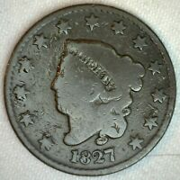 1827 Coronet Head US Large Cent Copper Coin Good Grade 1c US Penny Coin