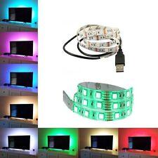 100CM 5050 Bright LED USB LED STRIP LIGHTS TV BACK LIGHT RGB COLOUR CHANGING