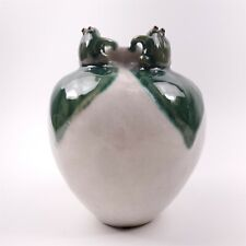 "Four Frogs Cream Glazed Vase with Leaves Looking Up - 7"" tall"