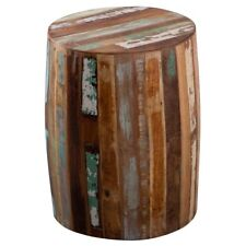 Drum Shaped Stool Reclaim Range Made From Recycled Hardwood CS22