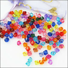 80Pcs Mixed Plastic Acrylic Clear Faceted Cone Charms Spacer Beads 8mm