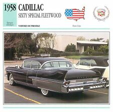 Cadillac Sixty Special Fleetwood V8 Luxe 1958 USA CAR VOITURE CARTE CARD FICHE