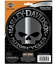 HARLEY DAVIDSON WILLIE G SKULL EMBOSSED CHROME DECAL  ** MADE IN THE USA **