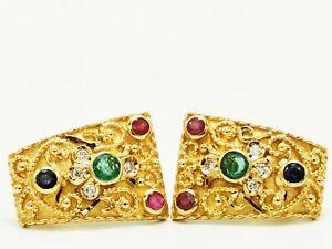 Schmuck handgefertigte 750 Gelbgold-Ohrclips Brillant/Smaragd/Rubin/Saphir Top