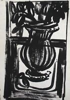 Vintage ink painting expressionist still life with flowers