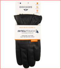 Dockers Men LEATHER DRESS GLOVES Sherpa Lined Heat Retention Touch Screen M L XL