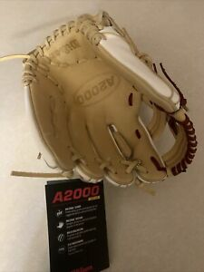 Wilson FP75SS Softball Glove Fast Pitch White And Beige 11.75 With Red Stitch