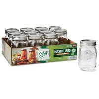12 Pack 16 Oz Ball Regular Mouth Pint Canning Mason Jars Lids &Bands Clear Glass