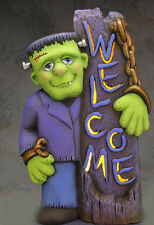 """Ceramic Bisque Ready to Paint  """"Welcome Frankenstein"""" Lighted~~ 17"""" tall"""