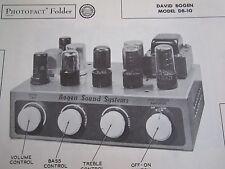DAVID BOGEN DB-10 AMPLIFIER AMP PHOTOFACT