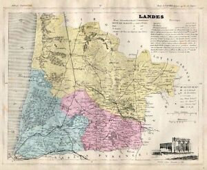 Genuine Original Antique 1877 France Hand Colored Map LANDES French Europe