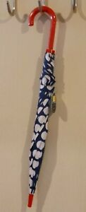 Cirra by ShedRain Navy and White Polka Dot Umbrella Fashion Stick Red Handle
