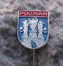 Antique Poznan Polish City Poland Heraldic Crest Castle Coat of Arms Pin Badge