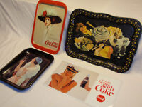 4 LOT! / COCA COLA METAL SERVING TRAYS / NEW COKE SIGN / GOOD CONDITION!!